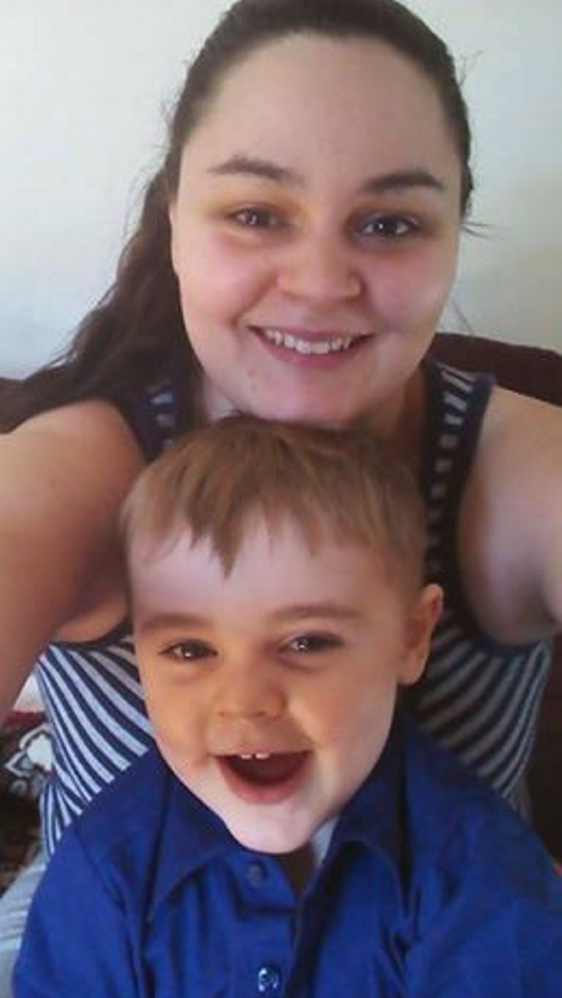 Andrea Curtis and her son, Tyler Curtis-Benson, who were rescued from a fire in Skowhegan Friday night.
