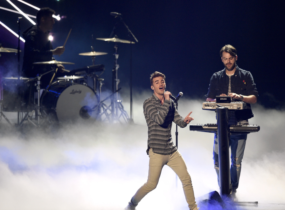 Drew Taggart, left, and Alex Pall of The Chainsmokers perform at the MTV Video Music Awards in August.