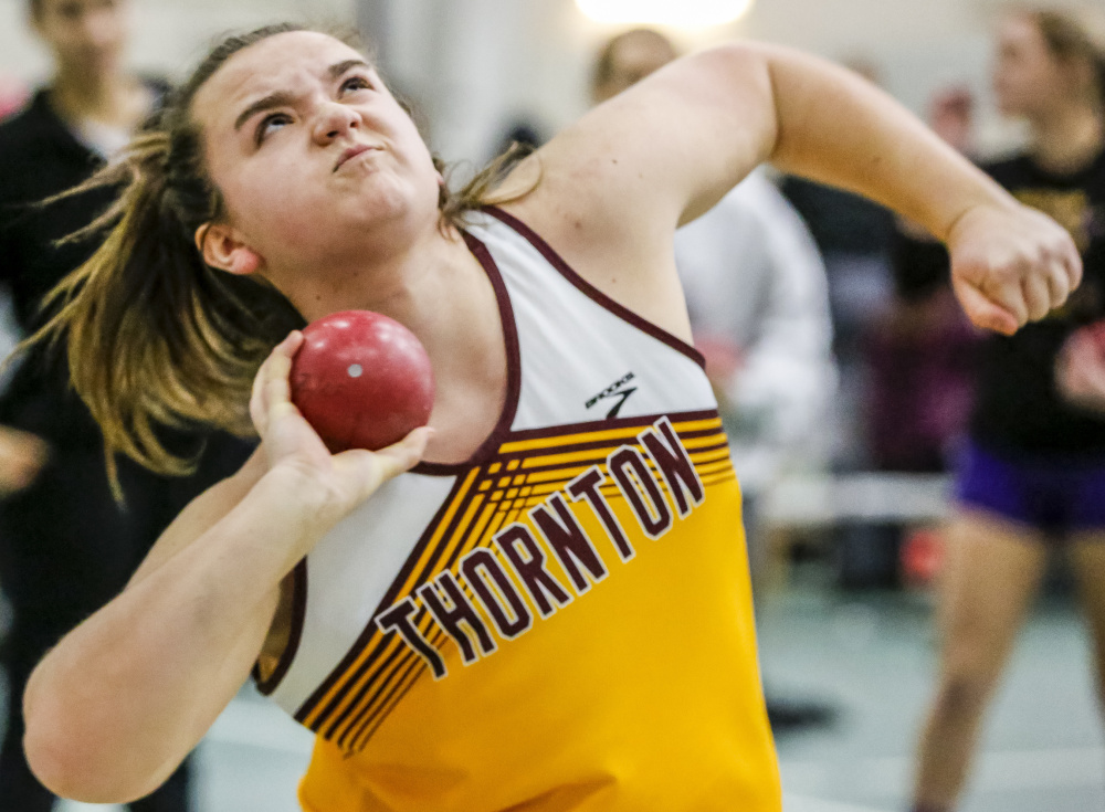 Samantha Curran of Thornton Academy will be seeking a third straight Class A championship in the shot put.