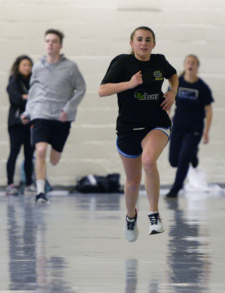 Emily Turner of Cheverus excels in the 400. Her state meet time was 1:12 as a freshman and 1:02.69 as a sophomore. Last year, she won her state meet race in 58.47, the fastest time ever run in Maine.