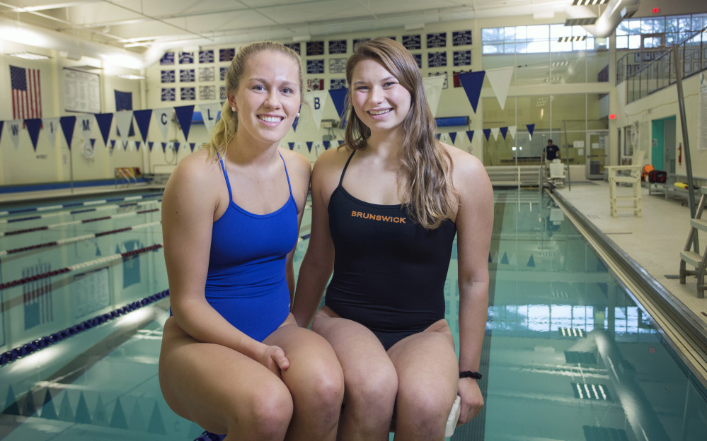 Ann Tolan, left, of Morse and Caitlin Tycz of Brunswick are both headed to top college programs – Penn State for Tolan and USC for Tycz.