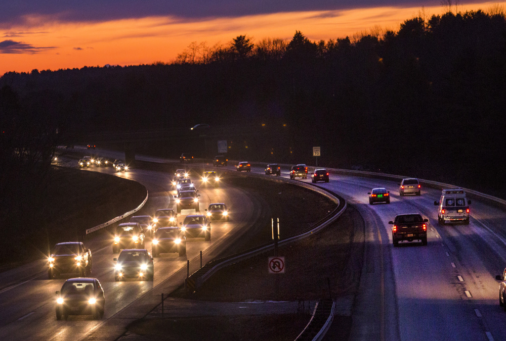 Traffic on Interstate 295, as seen Thursday evening looking southbound from the Bucknam Road overpass in Falmouth, increased by 12 percent from 2009 to 2015, and is expected to rise even more this year. Derek Davis/Staff Photographer