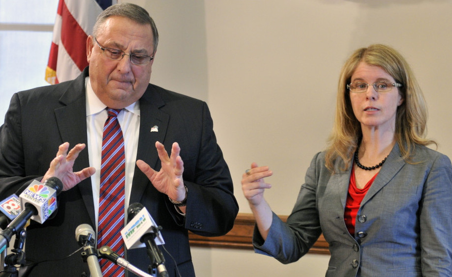 While Gov. LePage, left, and Health and Human Services Commissioner Mary Mayhew defend cutting services to adults with disabilities instead of working to deliver them more efficiently.