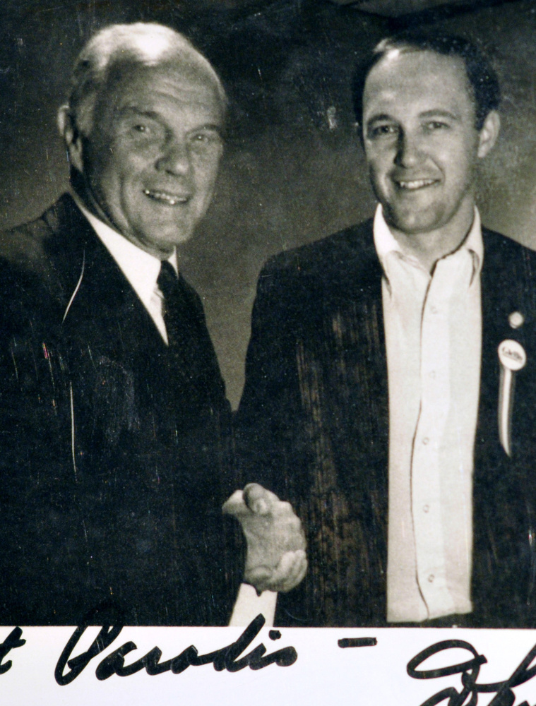 An autographed picture from 1983 shows Glenn with Paradis when the Augusta Democrat was showing the presidential candidate around Maine.