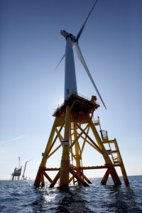 One of Deepwater Wind's turbines is viewed off Block Island, R.I. The nation's first offshore wind farm has opened off the coast of Rhode Island, ushering in a new era for the industry in the United States.