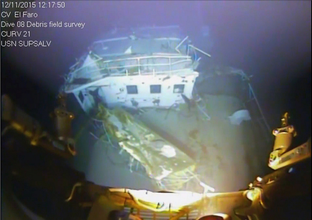 Transcripts released Tuesday by the National Transportation Safety Board were produced using audio from the voyage data recorder recovered last summer from the wreck of the El Faro in 15,000 feet of water off the Bahamas. Above is a photo of the ship's bridge.