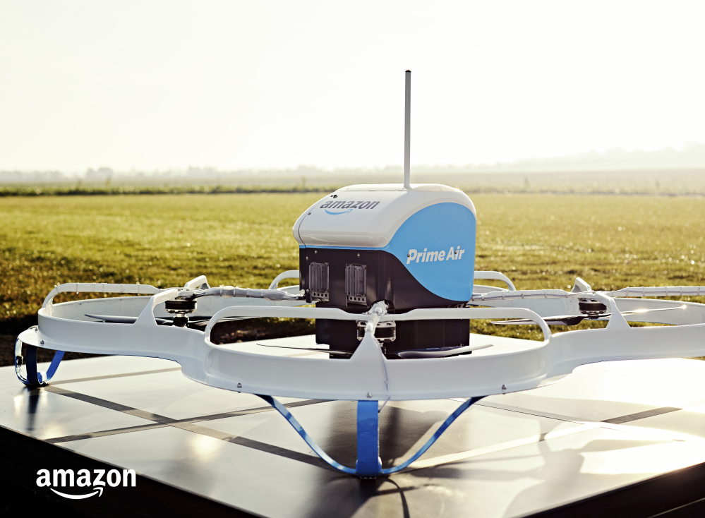 An Amazon Prime Air drone in Cambridgeshire, United Kingdom, delivered popcorn and a TV device 13 minutes after an order.