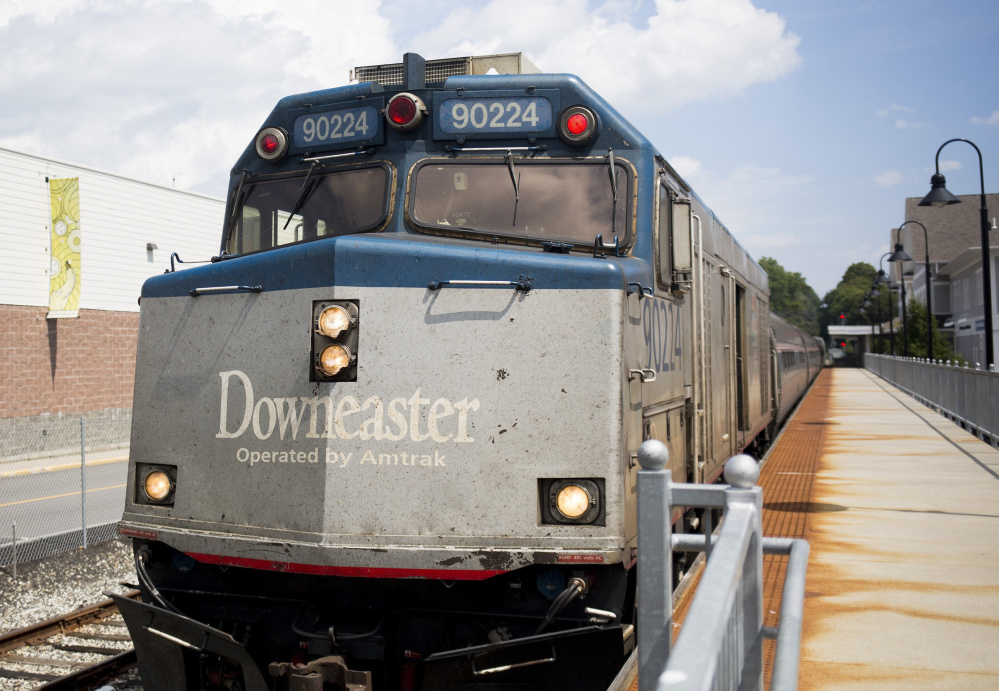 The northbound Amtrak Downeaster sits at the train station in Brunswick.