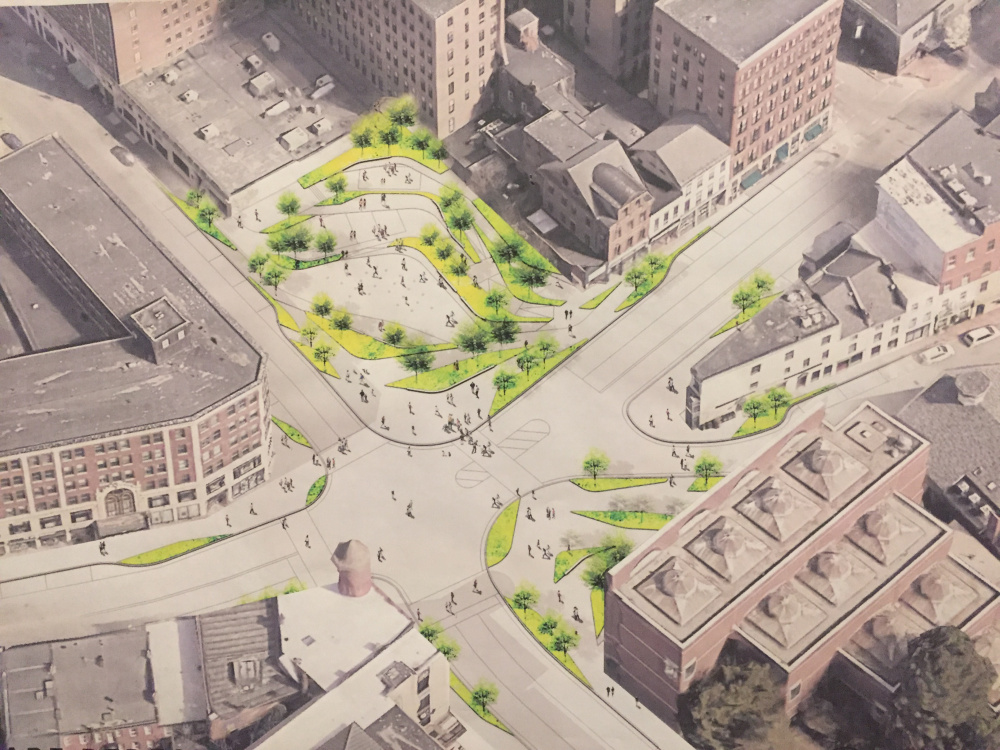 Designers from Philadelphia-based WRT unveiled this conceptual rendering for a new-look Congress Square Park with sloping levels and a performance stage facing traffic.