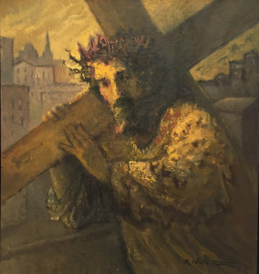"Michael Waterman, ""Carrying the Cross,"" oil on canvas."
