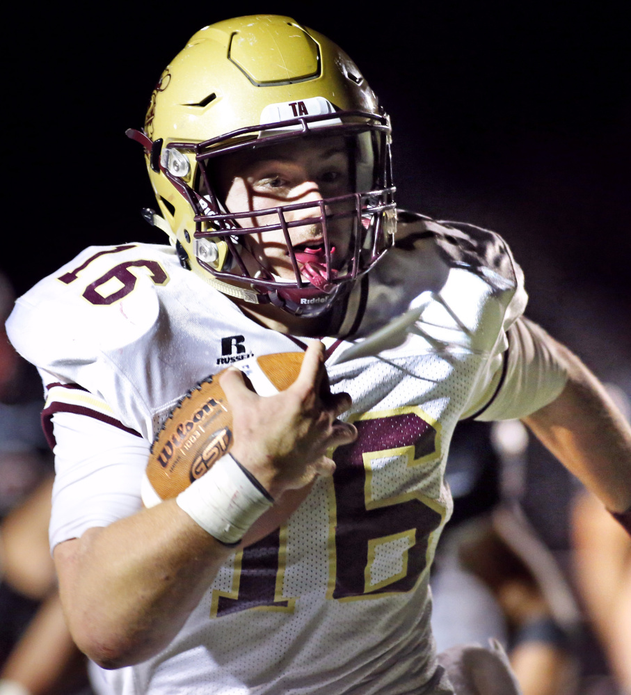 Michael Laverriere took over as Thornton Academy's starting quarterback this year and directed an offense that averaged more than 43 points per game. He accounted for almost 2,200 yards in nine games, including 1,384 on the ground while averaging 8.8 yards per carry.