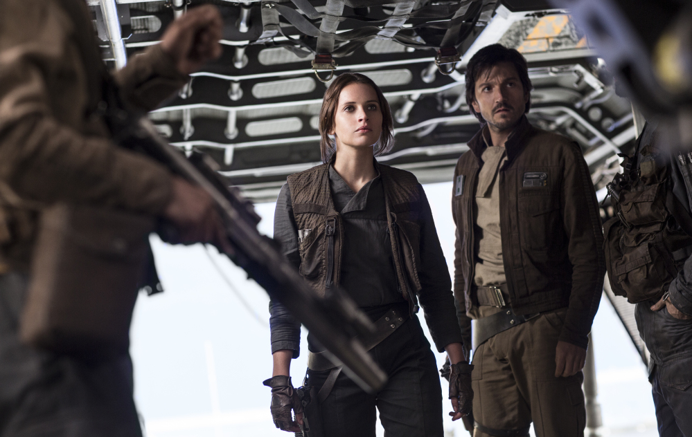 "Felicity Jones and Diego Luna in ""Rogue One: A Star Wars Story."" The film is a prequel to the original 1977 ""Star Wars."""
