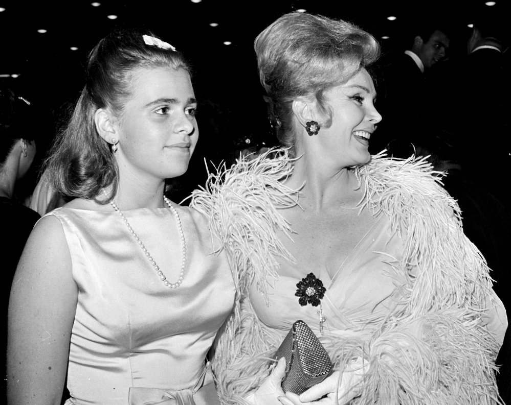 Zsa Zsa Gabor and her daughter, Francesca Hilton, arrive for a premiere in Hollywood in 1963.