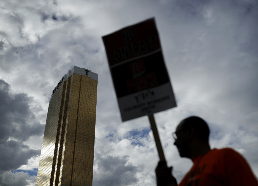 In September, members  of the Laborers' International Union of North America and the Culinary Union protested outside of the Trump International hotel in Las Vegas. Union officials announced Wednesday they reached a contract.