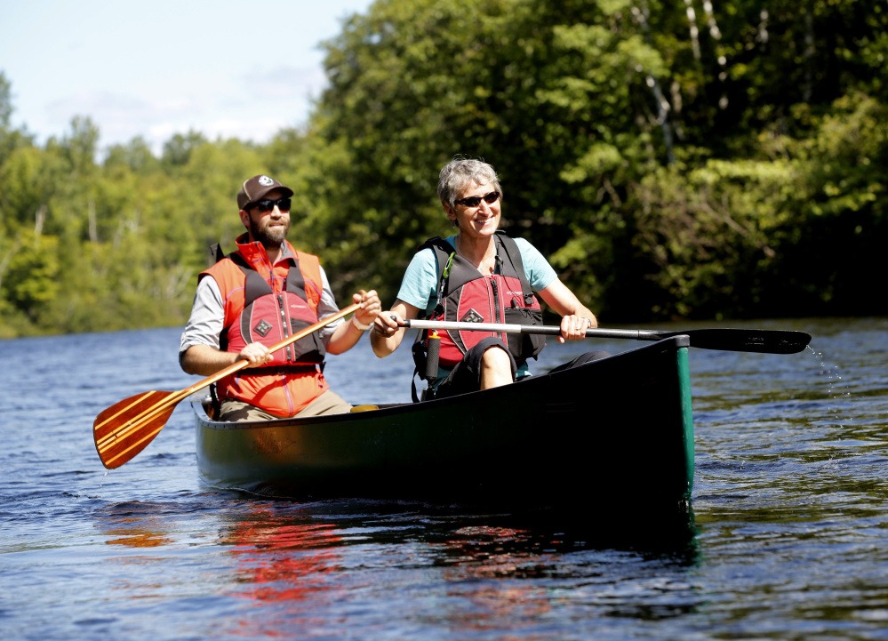 Shortly after President Obama's designation of the new national monument in August, Lucas St. Clair and Secretary of the Interior Sally Jewell paddle a section of the Penobscot River.