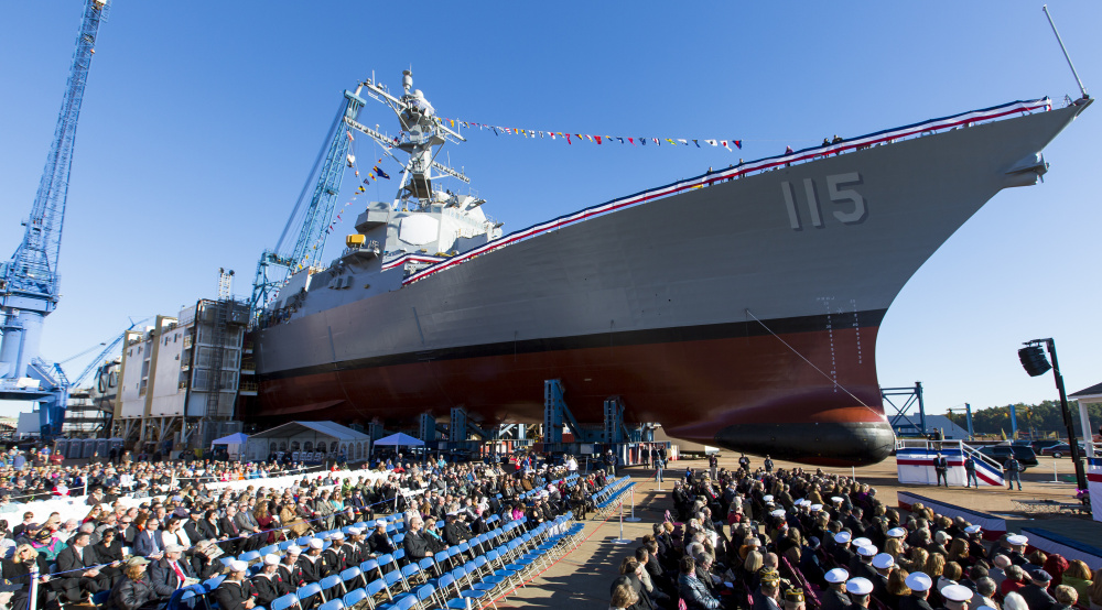 The audience assembles for the christening ceremony of the USS Rafael Peralta at Bath Iron Works on Oct. 31, 2015.