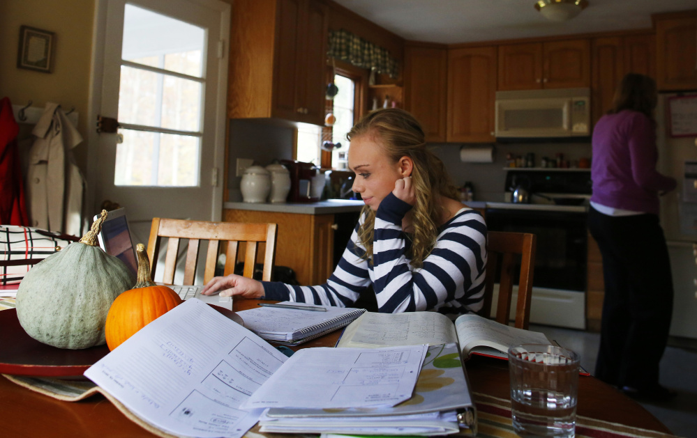 A senior taking Advanced Placement classes might have to balance school, a job and up to six hours of homework.