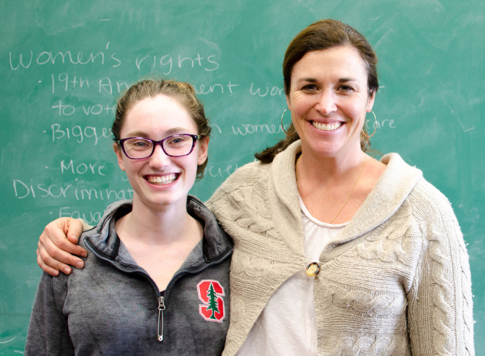 Berwick Academy faculty member Jen Onken, right, was recently recognized by Stanford University for exceptional teaching. The recognition is a result of a written nomination from Berwick alum and Onken's former student Claire Breger-Belsky, left.