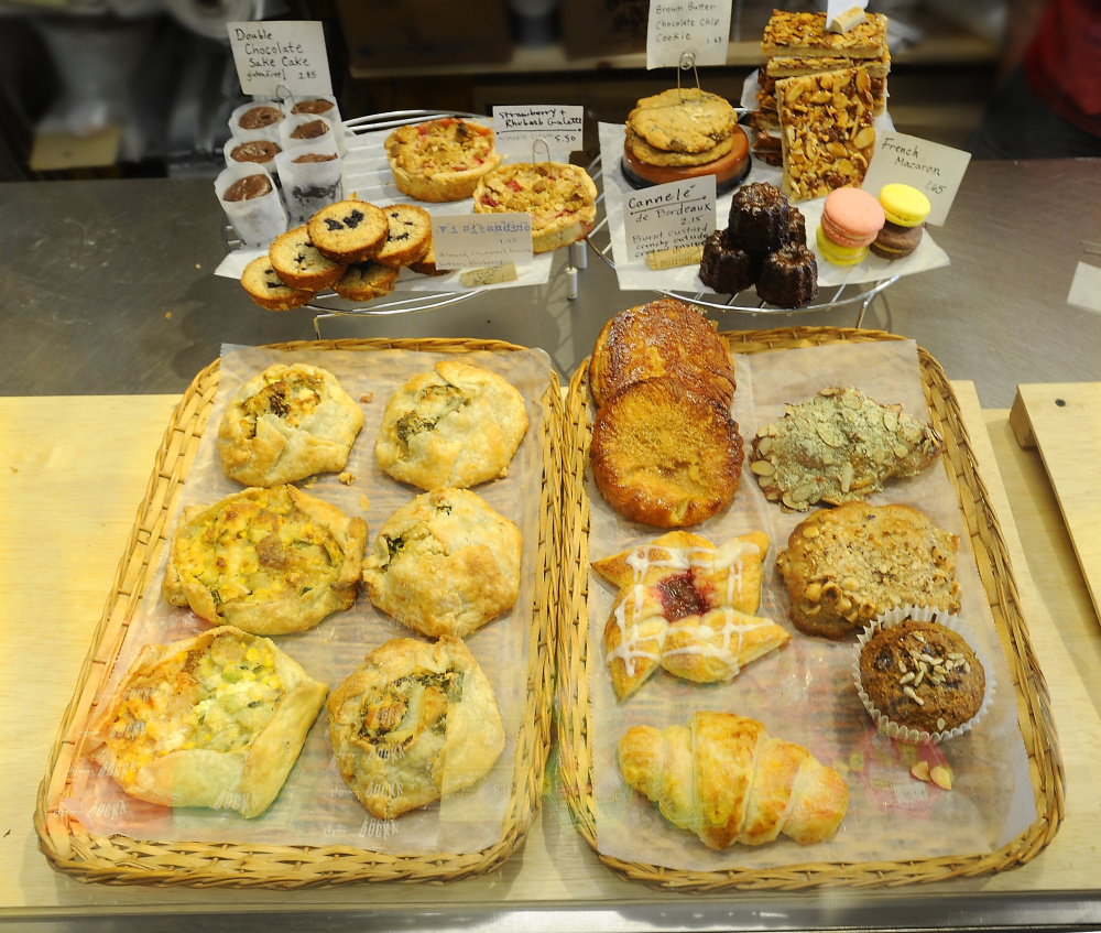 Trays full of freshly made pastries at Ten Ten Pié on Cumberland Avenue in Portland.