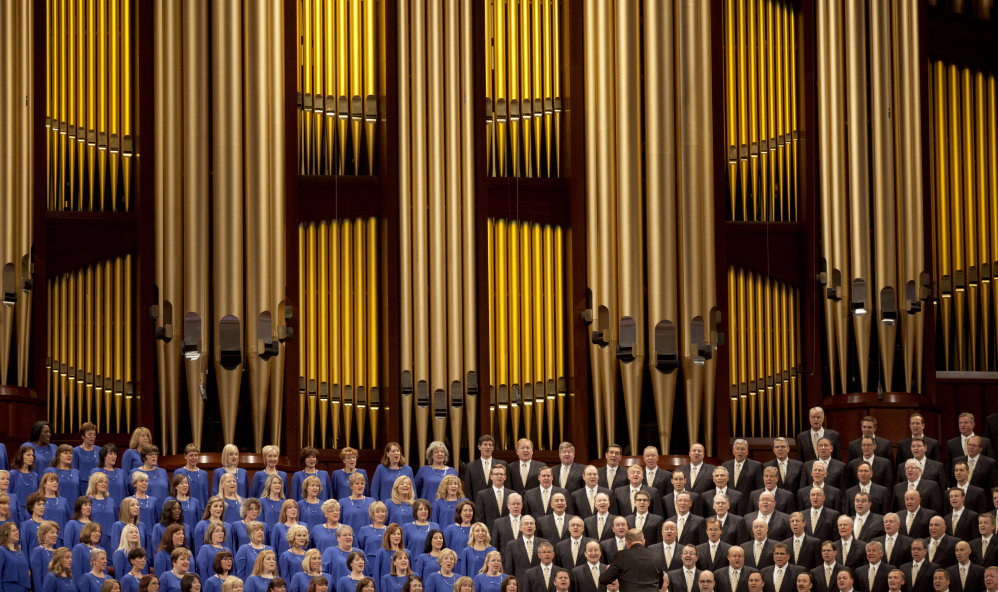 The Mormon Tabernacle Choir sings at a church conference in Salt Lake City. The choir's decision to sing at President-elect Donald Trump's inauguration has been controversial among members of the Church of Jesus Christ of Latter-day Saints.