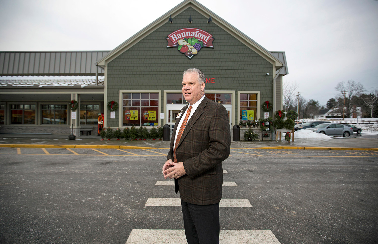 Hannaford president Mike Vail at the company's smallest store, in North Berwick.