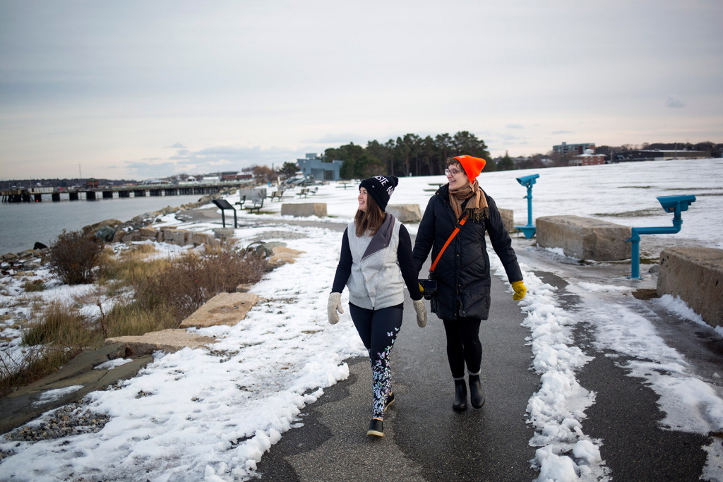 Holly Martzial, left, of South Portland and Malorrie Nadeau of Bath walk along the path at Bug Light Park in December 2016. A construction project to begin in 2018 will build two bridges to close a short gap between the Scarborough and South Portland sections of the Eastern Trail.