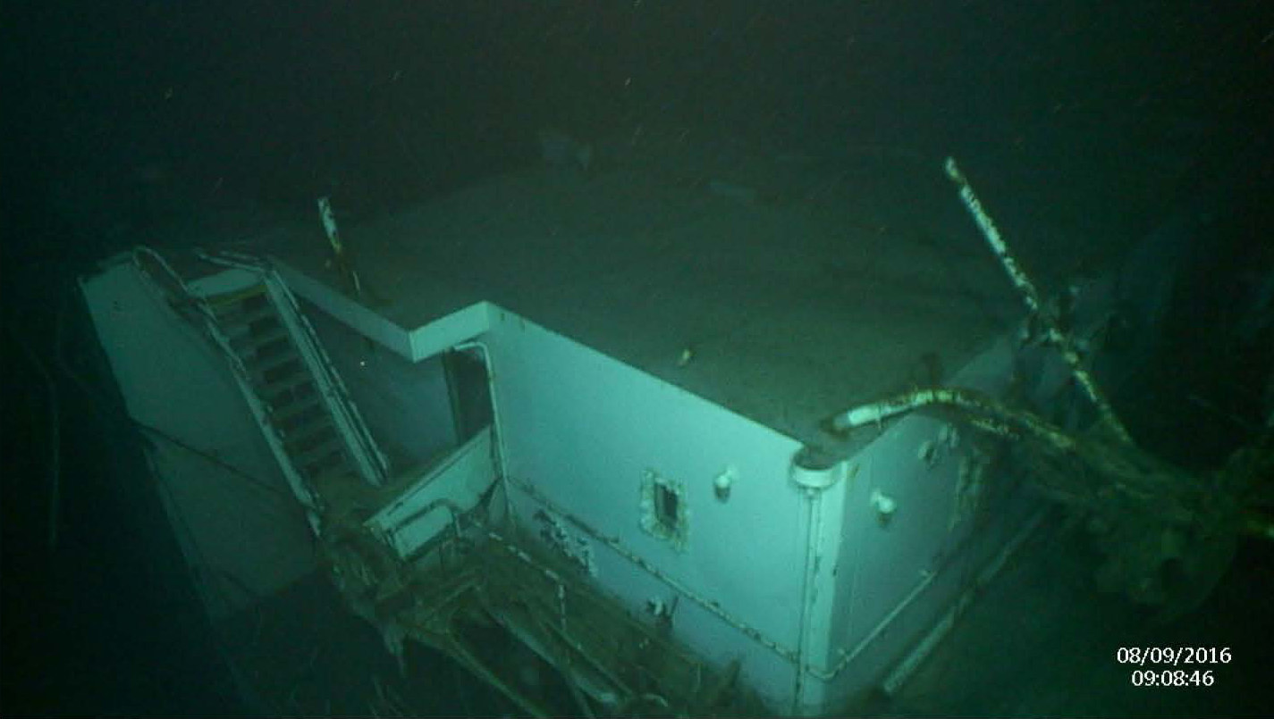 The El Faro's port side cabin deck, photographed on the third recovery mission.