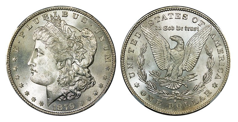 The real Morgan silver dollar was a U.S. coin minted from 1878 to 1904, and then again in 1921.  The coin is named after its designer, United States Mint Assistant Engraver George T. Morgan.  This particular coin was minted in 1879 at the San Francisco Mint. <em>Wikipedia photos</em>
