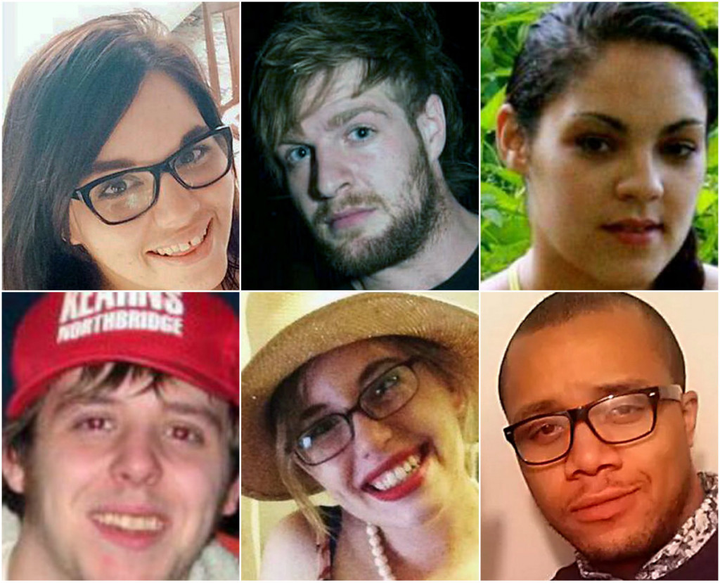 Victims of the Noyes Street fire. Top row, from left: Ashley Thomas, David Bragdon, Maelisha Jackson. Bottom row, from left: Christopher Conlee, Nikki Finlay, Steven Summers.