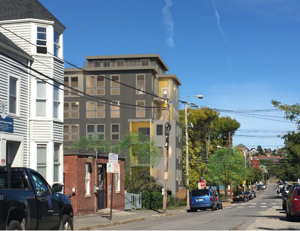 A rendering of the proposed apartment building at 75 Chestnut Street in Portland's Bayside neighborhood from the project's planning board application.