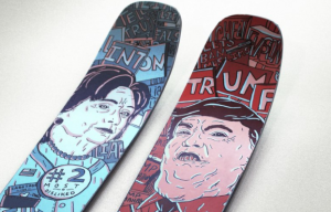 Ski maker Renoun create a Trump vs. Hillary ski to commemorate the 2016 presidential election. The skis were designed by Jamie Tam.
