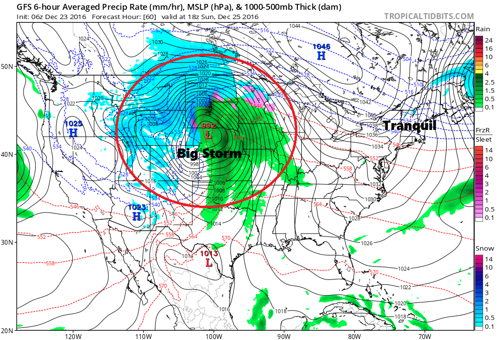 Tranquil weather is the rule for Christmas day with stormy weather out west.