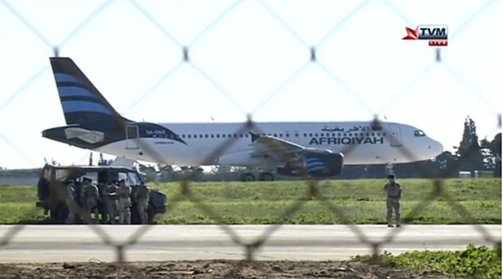 In this screen image taken from television a hijacked Afriqiyah Airways A320 sits on the tarmac at Malta International airport Friday. <em>TVM via AP</em>