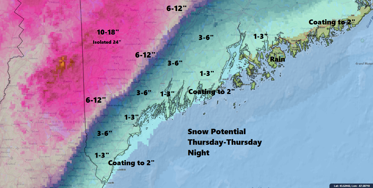 Snow will rapidly increase in depth as one moves west past the Maine Turnpike