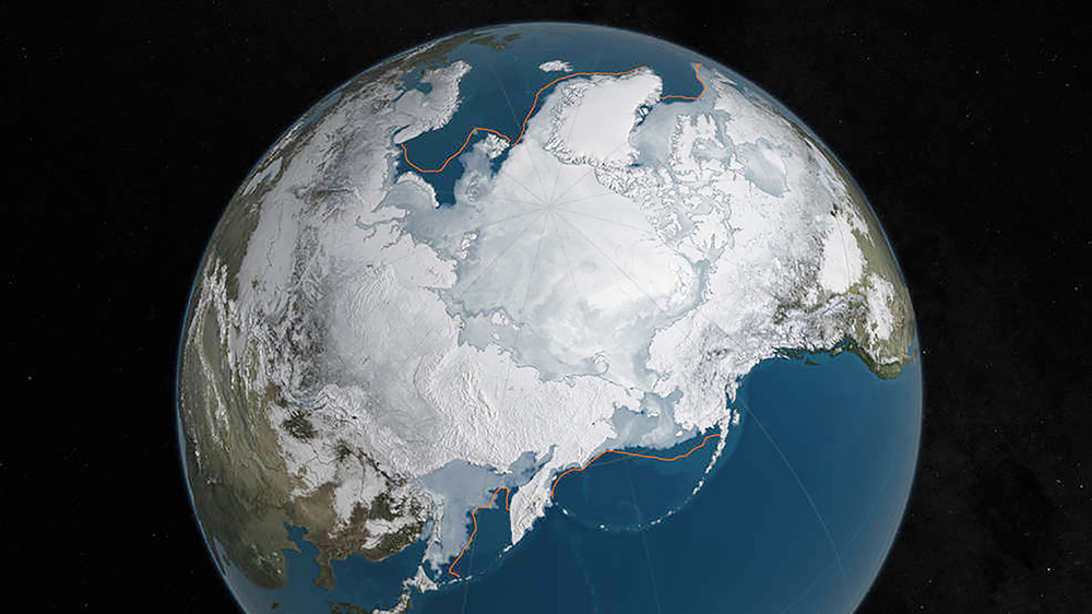 This NASA illustration shows Arctic sea ice at a record low wintertime maximum extent for the second straight year, according to scientists at the NASA-supported National Snow and Ice Data Center. At 5.607 million square miles, the sea ice is 431,000 square miles below the 1981 to 2010 average. <em>NASA Goddard's Scientific Visualization Studio/C. Starr/ via Reuters </em>