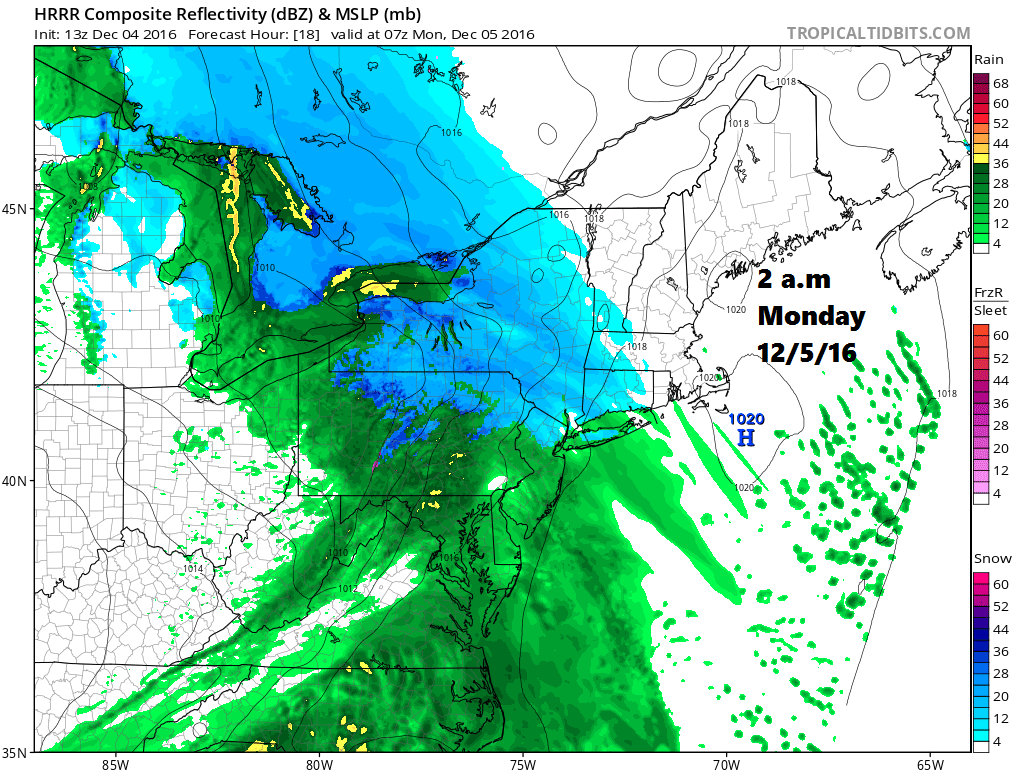 Snow will be breaking out west of Maine in the early morning hours Monday.