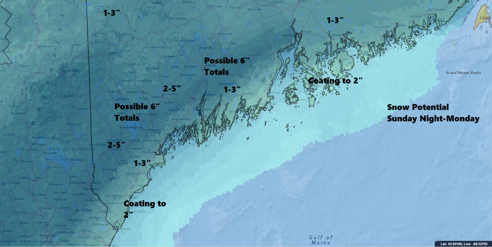 A plowable snow event is likely for most areas Sunday night and Monday