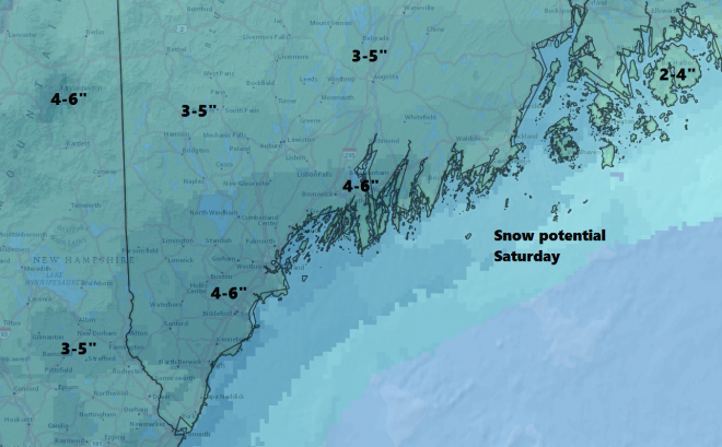 Snow arrives early Saturday and continues much of the morning into early afternoon.