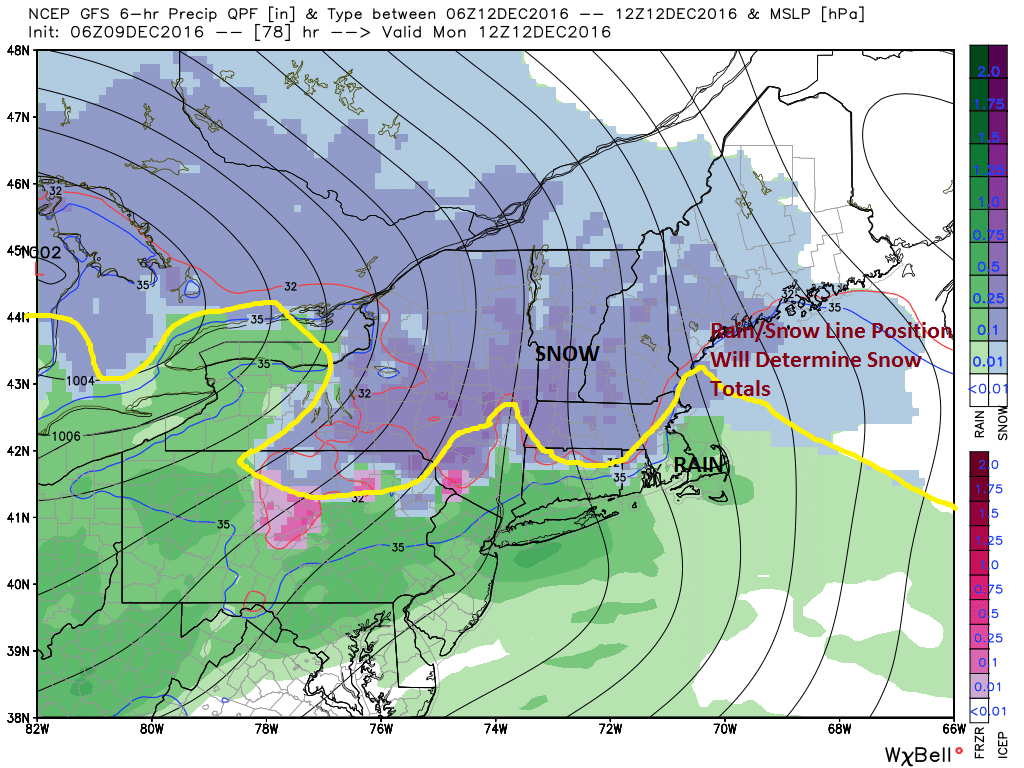 Snow is forecast to overspread Maine on Monday morning.
