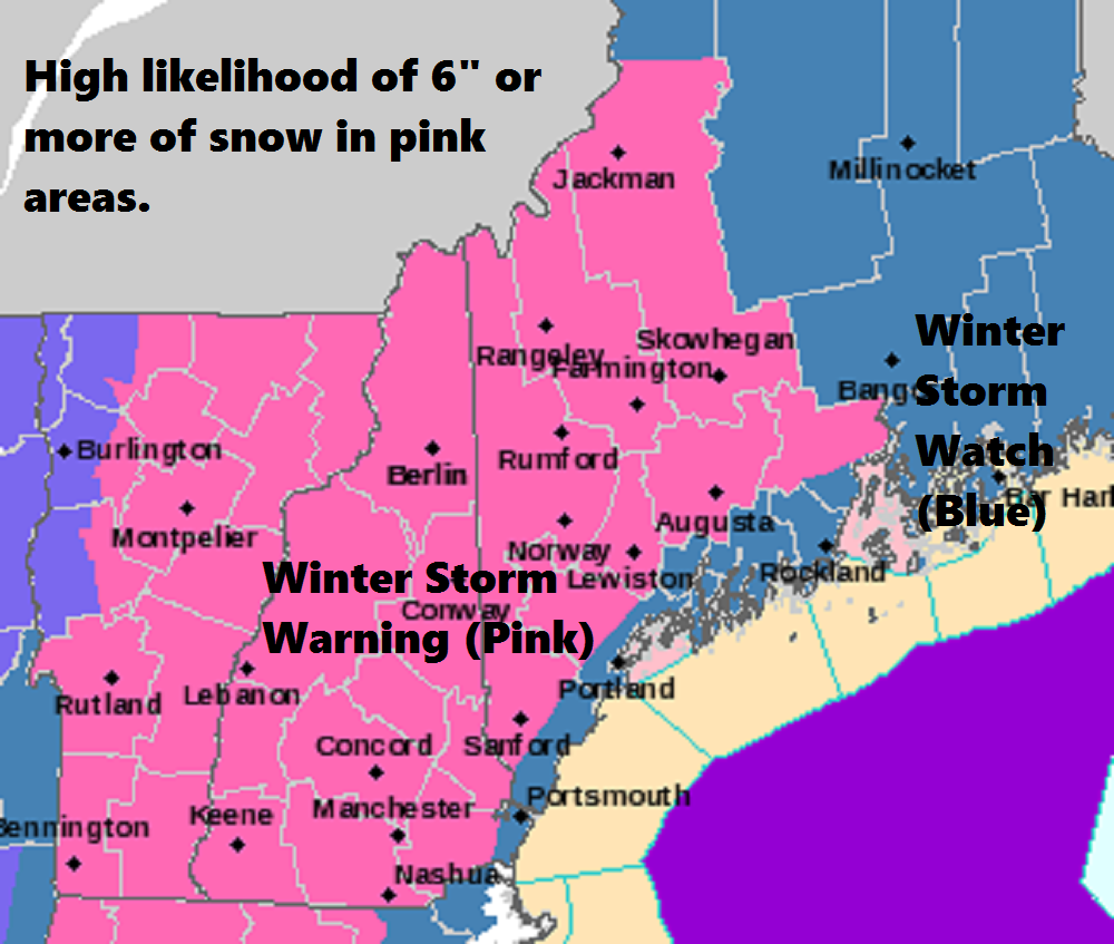 Winter storm warnings are issued when snow totals are likely going to reach or exceed 6 inches. The watch is still posted along the coast where snow totals are less sure
