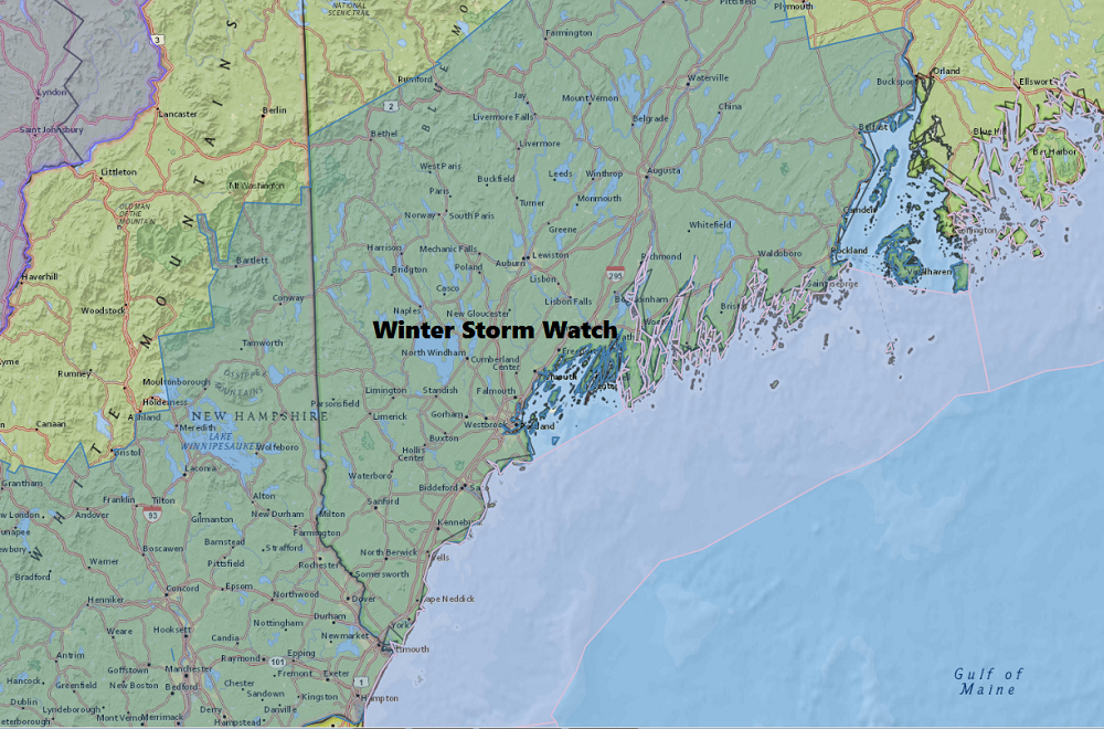Late Saturday a Winter Storm Watch was issued for much of southern and central Maine