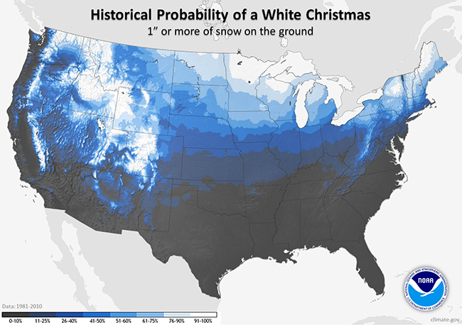 The northern tier of the United States typically has snow cover at Christmas as does the mountains.