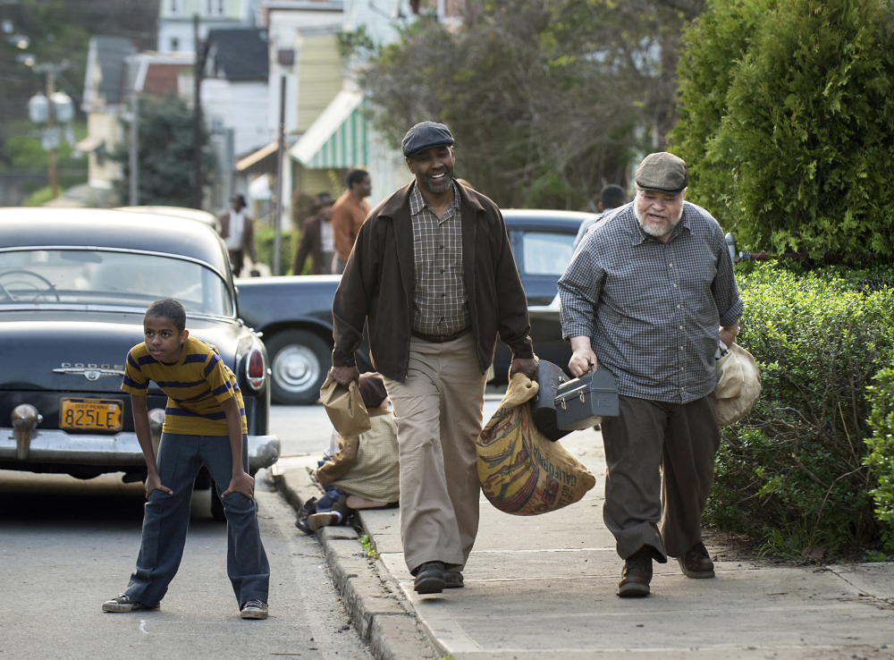 "Denzel Washington and Stephen McKinley Henderson portray Pittsburgh garbage collectors in ""Fences."""