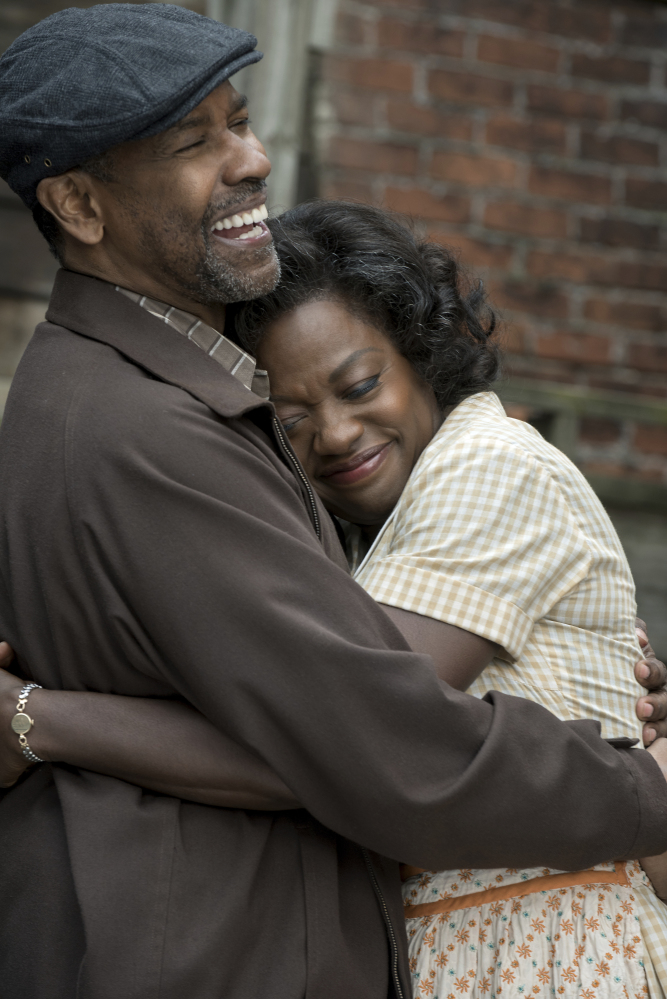 "Washington and Viola Davis in ""Fences."""