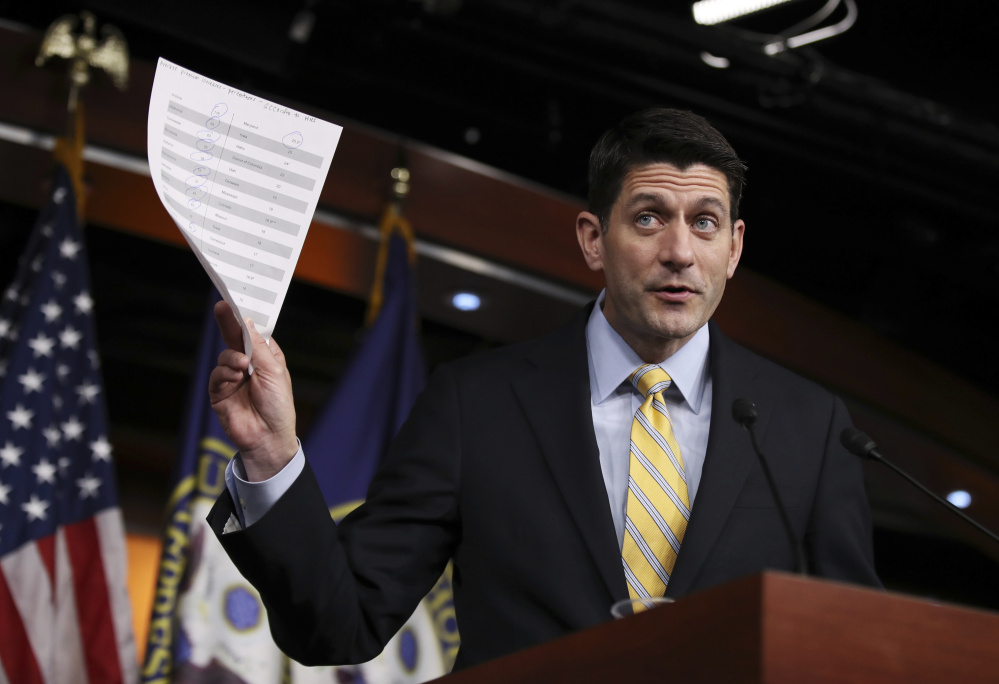 Brandishing insurance premium statistics, House Speaker Paul Ryan of Wisconsin tells reporters Thursday that a Republican effort to repeal Obamacare includes stripping federal funding for Planned Parenthood.