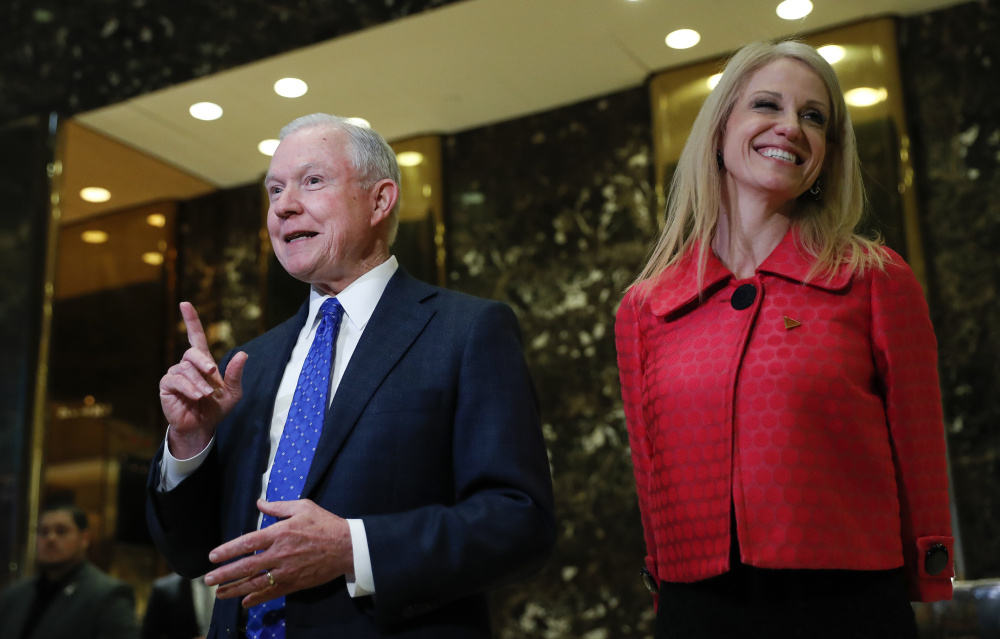 Sen. Jeff Sessions, R-Ala., with Kellyanne Conway, campaign manager for President-elect Donald Trump. His supporters and opponents paint a very different picture of him.