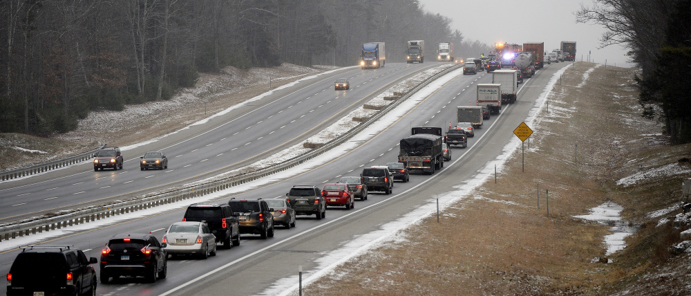 Northbound traffic on the Maine Turnpike is reduced to one lane Friday morning after a crash killed a Waldoboro man.