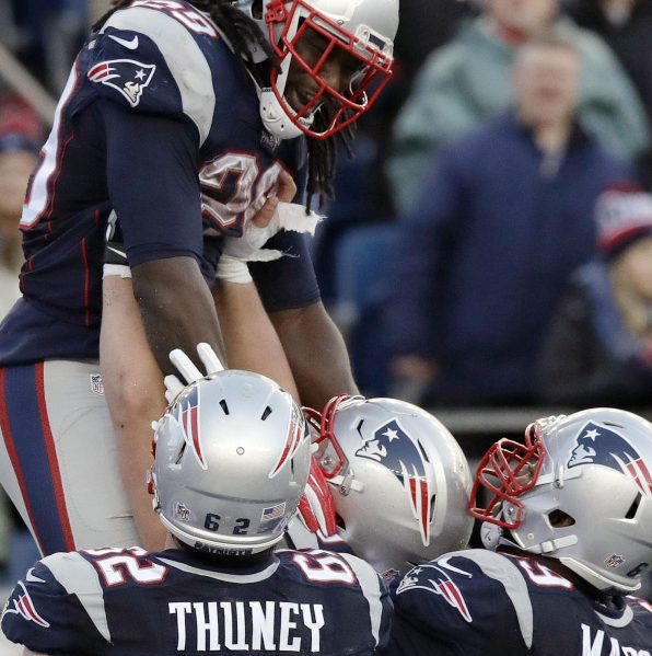Sure, LeGarrette Blount led the NFL this season with 17 touchdowns, but he certainly didn't do it alone. Give credit where it's due, and every game he gets a lift from his offensive linemen including Joe Thuney, left, and Shaq Mason. It's one more example of those players who might not live in the limelight playing important roles as the Patriots push forward in the playoffs.
