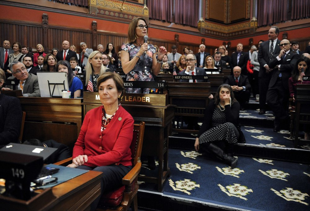 "House Minority Leader Themis Klarides, R-Derby, speaks during the opening session in Hartford. ""The tone from certain people is different, the conciliatory tone versus the aggressive tone,"" she said of her party's newfound strength."