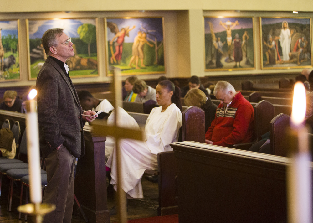 """Pastor Don Drake leads Sunday service at Deering Center Community Church. """"This church has been an integral part of the Deering Center community for more than 100 years now and this bell tower project will be a major challenge."""" Carl D. Walsh/Staff Photographer"""